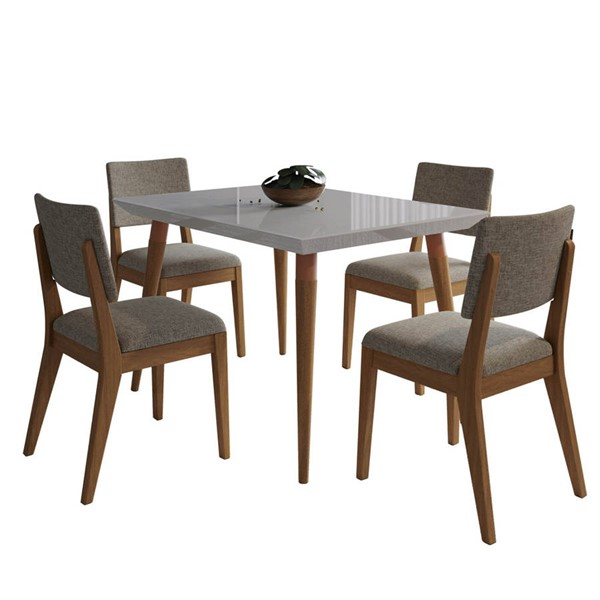 Manhattan Comfort Utopia Dover Off White 47.24 Inch 5pc Dining Set with Grey Chair MHC-2-107352109353