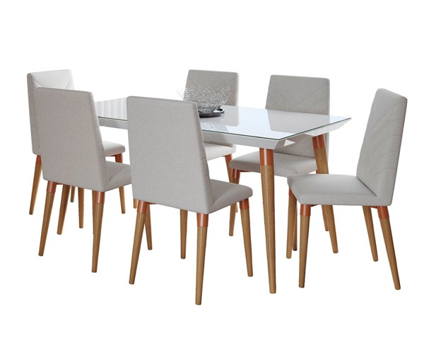 Manhattan Comfort Utopia White Gloss 62.99 Inch 7pc Dining Set with Beige Chairs MHC-2-107451109251