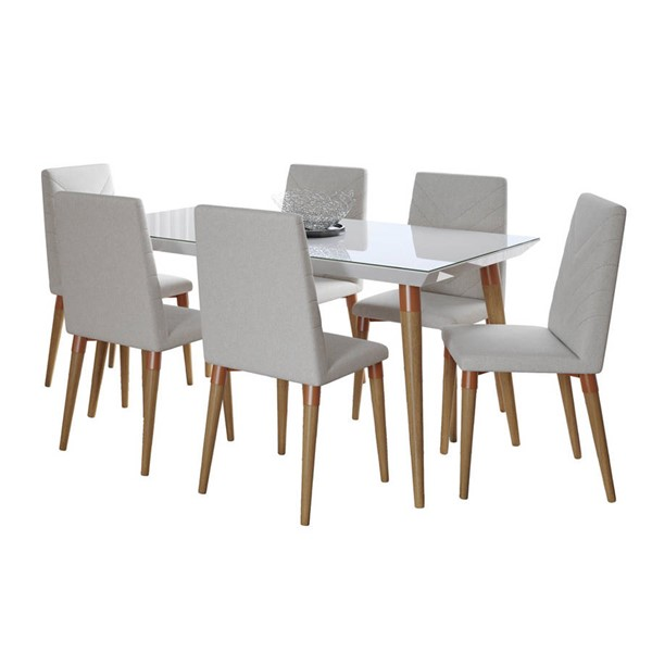 Manhattan Comfort Utopia White Gloss 62.99 Inch 7pc Dining Sets MHC-2-10745110925-DR-S-VAR