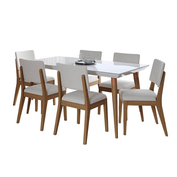 Manhattan Comfort Utopia Dover White Gloss 62.99 Inch 7pc Dining Set with Beige Chair MHC-2-107451109351