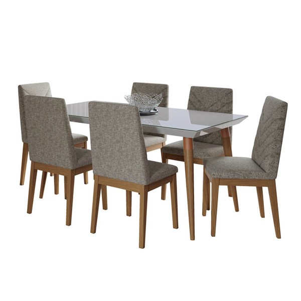 Manhattan Comfort Utopia Catherine Off White 62.99 Inch 7pc Dining Set with Grey Chair MHC-2-107452109052