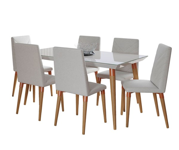 Manhattan Comfort Utopia Off White 62.99 Inch 7pc Dining Set with Beige Chairs MHC-2-107452109251