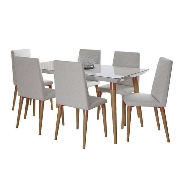 Manhattan Comfort Utopia Off White 62.99 Inch 7pc Dining Set with Beige Chair MHC-2-107452109251