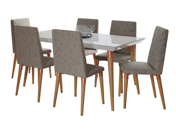 Manhattan Comfort Utopia Off White 62.99 Inch 7pc Dining Set with Grey Chairs MHC-2-107452109253