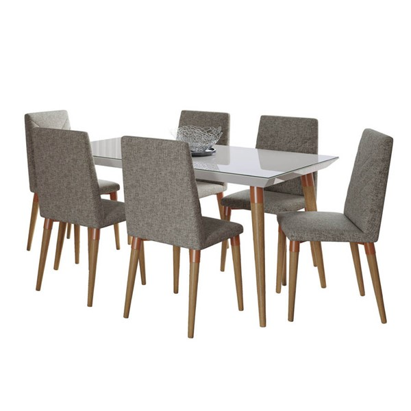 Manhattan Comfort Utopia Off White 62.99 Inch 7pc Dining Set with Grey Chair MHC-2-107452109253