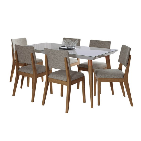 Manhattan Comfort Utopia Dover Off White 62.99 Inch 7pc Dining Set with Grey Chair MHC-2-107452109353