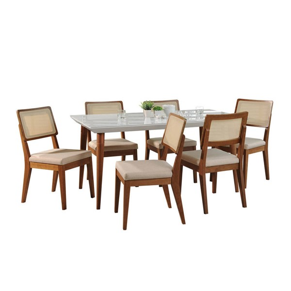 Manhattan Comfort Utopia Pell White Gloss 70.86 Inch 7pc Dining Set MHC-2-1075511011752