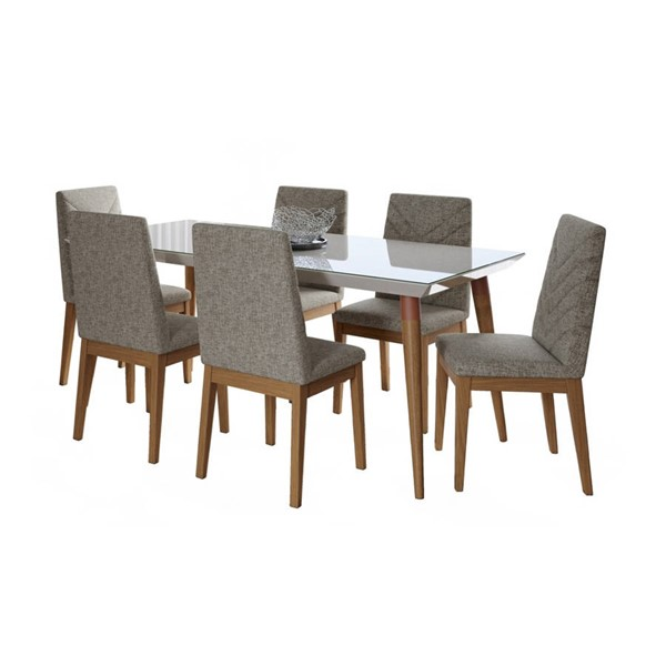 Manhattan Comfort Utopia Catherine White Gloss 70.86 Inch 7pc Dining Set with Grey Chair MHC-2-107551109052
