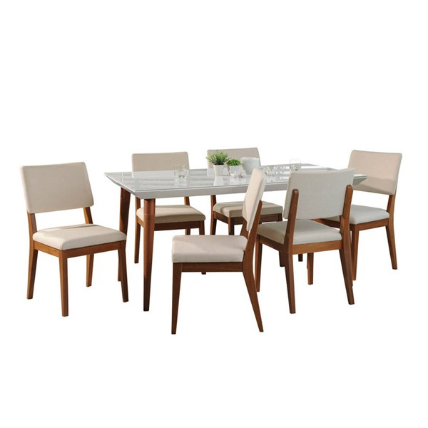 Manhattan Comfort Utopia Dover White Gloss 70.86 Inch 7pc Dining Set with Beige Chair MHC-2-107551109351