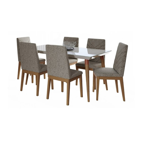 Manhattan Comfort Utopia Catherine Off White 70.86 Inch 7pc Dining Set with Grey Chair MHC-2-107552109052