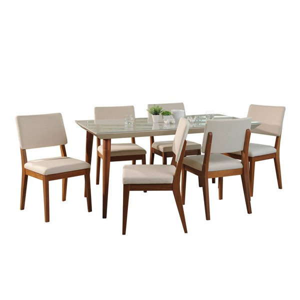 Manhattan Comfort Utopia Dover Off White 70.86 Inch 7pc Dining Set with Beige Chair MHC-2-107552109351