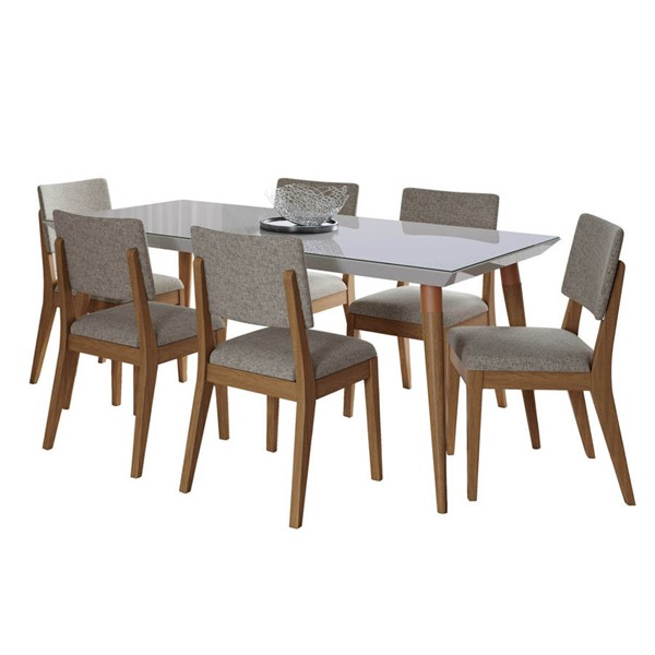 Manhattan Comfort Utopia Dover Off White 70.86 Inch 7pc Dining Set with Grey Chair MHC-2-107552109353