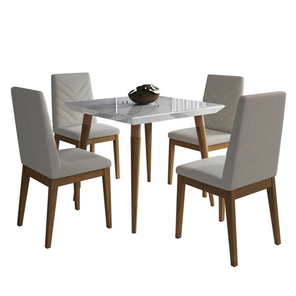 Manhattan Comfort Utopia Catherine Marble 35.43 Inch 5pc Dining Sets MHC-2-10865110905-DR-S-VAR