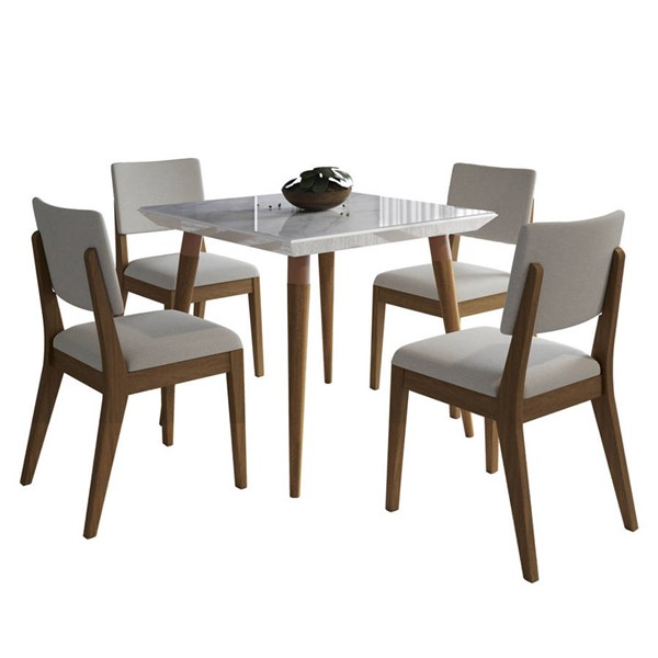 Manhattan Comfort Utopia Dover Marble 35.43 Inch 5pc Dining Sets MHC-2-10865110935-DR-S-VAR