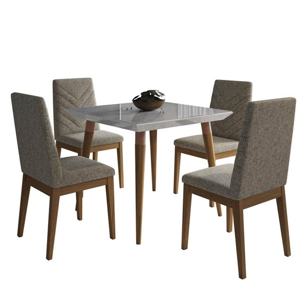 Manhattan Comfort Utopia Catherine Off White Marble 35.43 Inch 5oc Dining Set Grey Chair MHC-2-108652109052