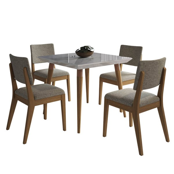 Manhattan Comfort Utopia Dover Off White Marble 35.43 Inch 5pc Dining Set with Grey Chair MHC-2-108652109353