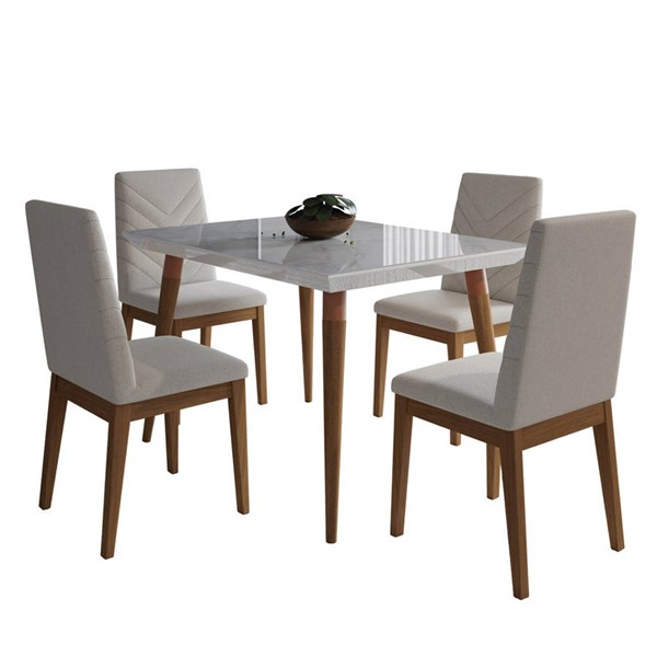 Manhattan Comfort Utopia Catherine White Gloss Marble 47.24 Inch 5pc Dining Set with Beige Chair MHC-2-108751109051