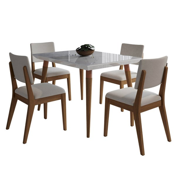 Manhattan Comfort Utopia Dover White Gloss Marble 47.24 Inch 5pc Dining Set with Beige Chair MHC-2-108751109351