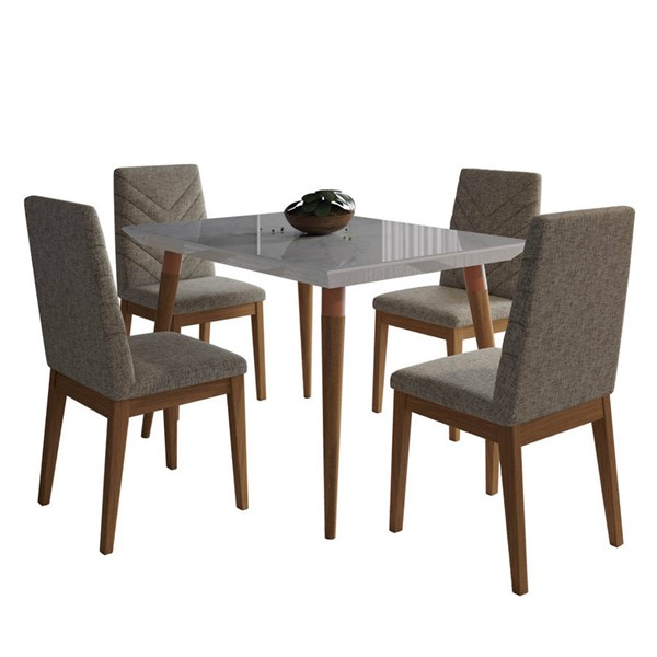 Manhattan Comfort Utopia Catherine Off White Marble 47.24 Inch 5pc Dining Set with Grey Chair MHC-2-108752109052