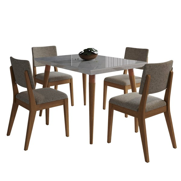 Manhattan Comfort Utopia Dover Off White Marble 47.24 Inch 5pc Dining Set with Grey Chair MHC-2-108752109353
