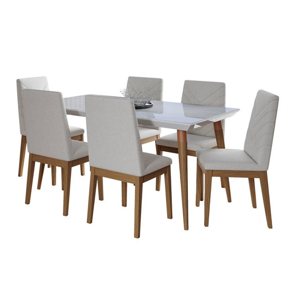 Manhattan Comfort Utopia Catherine Marble 62.99 Inch 7pc Dining Sets MHC-2-10885110905-DR-S-VAR