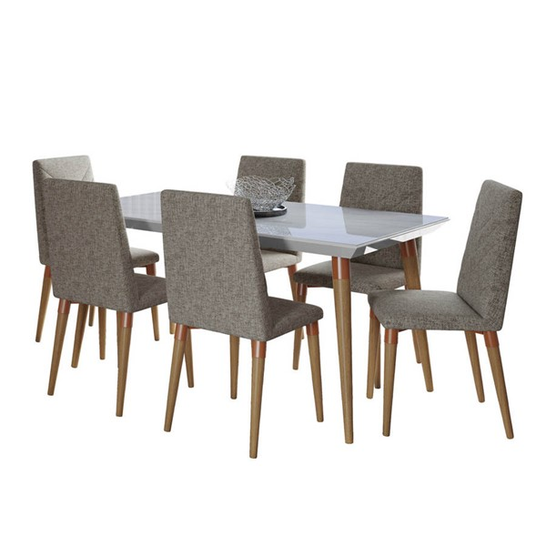 Manhattan Comfort Utopia White Gloss Marble 62.99 Inch 7pc Dining Set with Grey Chair MHC-2-108851109253