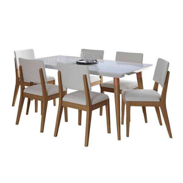 Manhattan Comfort Utopia Dover White Gloss Marble 62.99 Inch 7pc Dining Set with Beige Chair MHC-2-108851109351