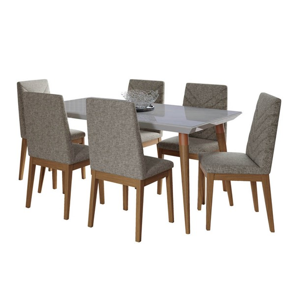Manhattan Comfort Utopia Catherine Off White Marble 62.99 Inch 7pc Dining Set with Grey Chair MHC-2-108852109052
