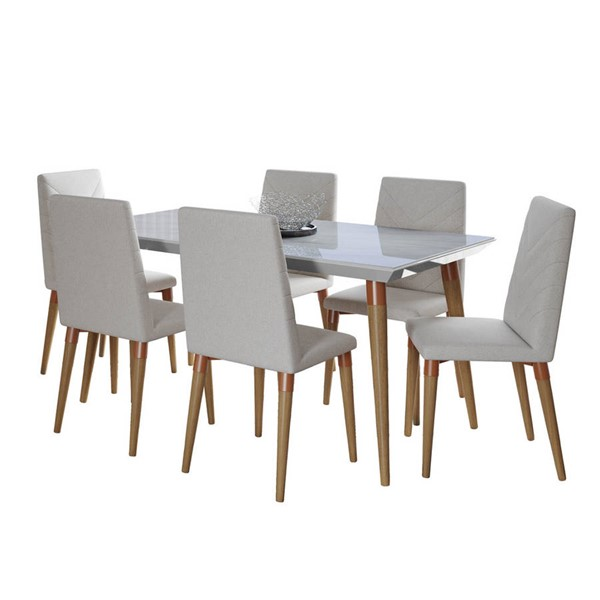 Manhattan Comfort Utopia Off White Marble 62.99 Inch 7pc Dining Set with Beige Chair MHC-2-108852109251