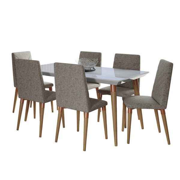 Manhattan Comfort Utopia Off White Marble 62.99 Inch 7pc Dining Set with Grey Chair MHC-2-108852109253