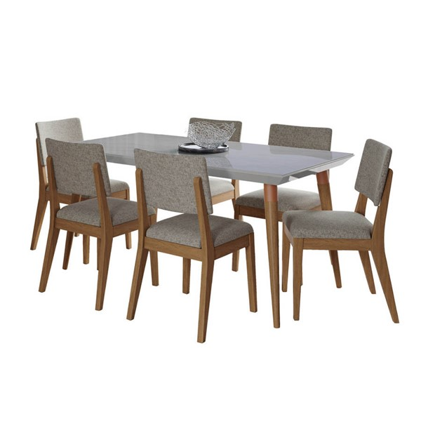 Manhattan Comfort Utopia Dover Off White Marble 62.99 Inch 7pc Dining Set with Grey Chair MHC-2-108852109353