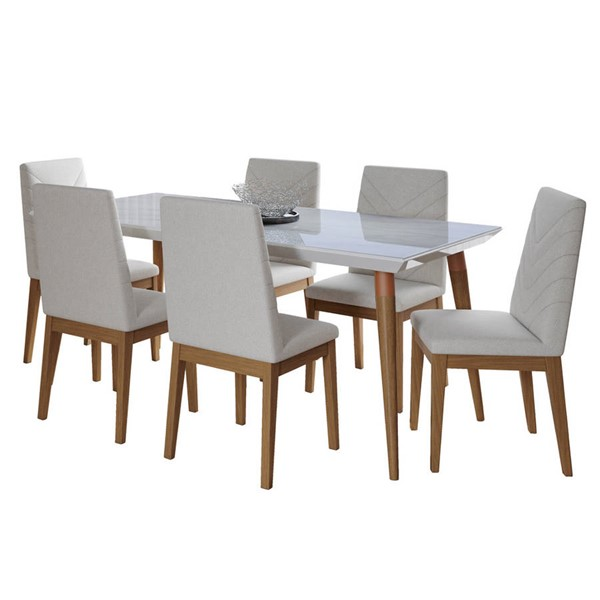 Manhattan Comfort Utopia Catherine White Gloss Marble 70.86 Inch 7pc Dining Set with Beige Chair MHC-2-108951109051