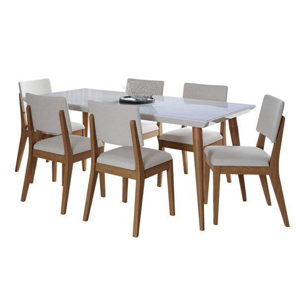 Manhattan Comfort Utopia Dover White Gloss Marble 70.86 Inch 7pc Dining Set with Beige Chair MHC-2-108951109351