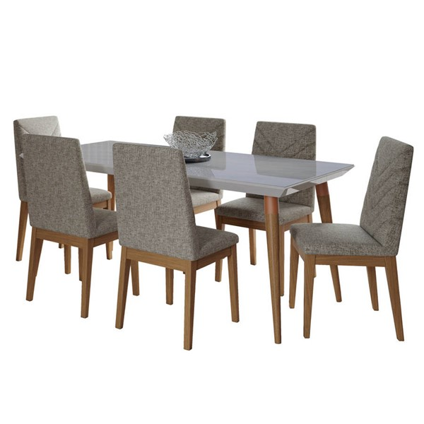 Manhattan Comfort Utopia Catherine Off White Marble 70.86 Inch 7pc Dining Set with Grey Chair MHC-2-108952109052