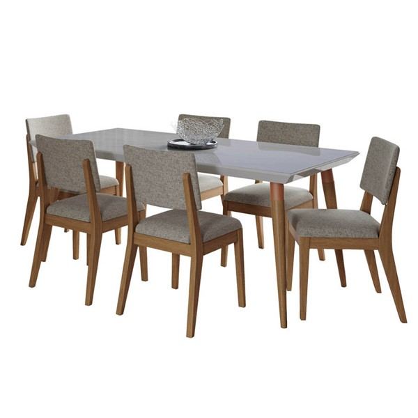 Manhattan Comfort Utopia Dover Off White Marble 70.86 Inch 7pc Dining Set with Grey Chair MHC-2-108952109353