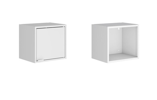 Manhattan Comfort Smart White 2pc 13.77 Inch Floating Cabinet and Display Shelf MHC-2-12GMC1