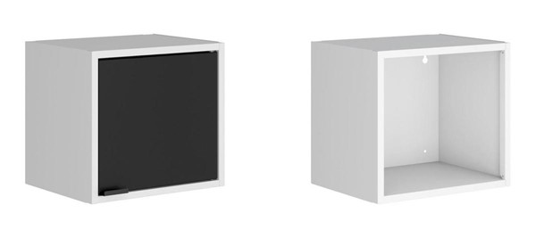 Manhattan Comfort Smart White Black 2pc 13.77 Inch Floating Cabinet and Display Shelf MHC-2-12GMC2