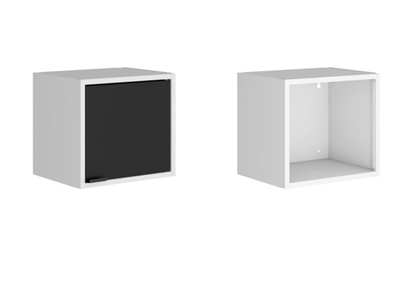 Manhattan Comfort Smart White Black 2pc Floating Cabinet and Display Shelf MHC-2-12GMC2