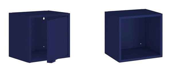 Manhattan Comfort Smart Blue 2pc 13.77 Inch Floating Cabinet and Display Shelf MHC-2-12GMC4