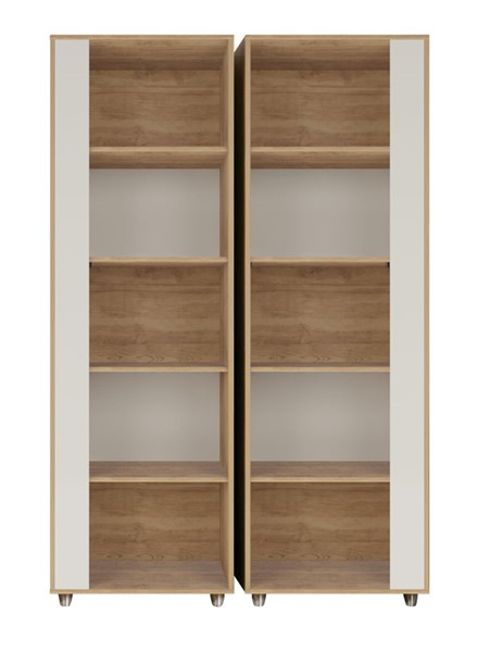 2 Manhattan Comfort Cypress Nature Off White Bookcases MHC-2-12LC4