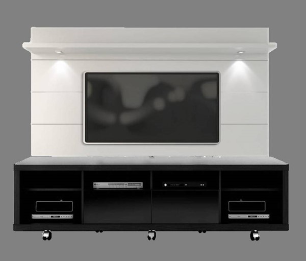 Manhattan Comfort Cabrini 2.2 Black White TV Stand and Floating Wall Panel MHC-15313-82352-ENT-S1