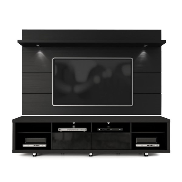 Manhattan Comfort Cabrini Black TV Stand and Floating Wall TV Panel 2.2 MHC-2-1531382353