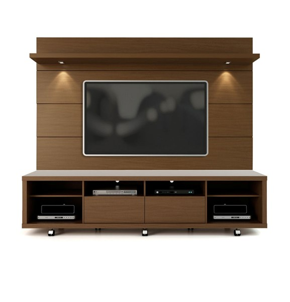 Manhattan Comfort Cabrini Nut Brown TV Stand and Floating Wall TV Panel 2.2 MHC-2-1537282351