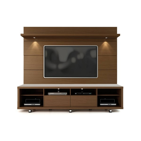 Manhattan Comfort Cabrini 2.2 Nut Brown TV Stand and Floating Wall Panel MHC-2-1537282351