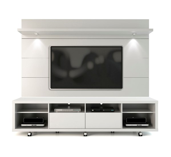 Manhattan Comfort Cabrini White TV Stand and Floating Wall TV Panel 2.2 MHC-2-1538482352