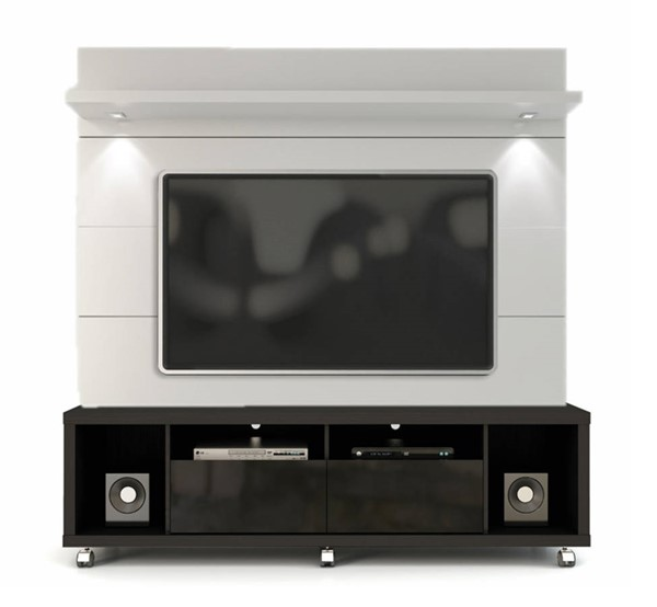 Cabrini Black White Gloss MDF TV Stand w/1.8 Panel Entertain Center MHC-15413-82252-ENT-S1