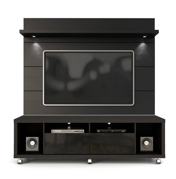 Manhattan Comfort Cabrini Black TV Stand and Floating Wall TV Panel 1.8 MHC-2-1541382253