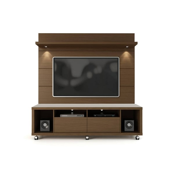 Manhattan Comfort Cabrini 1.8 Nut Brown TV Stand and Floating Wall Panel MHC-2-1547282251