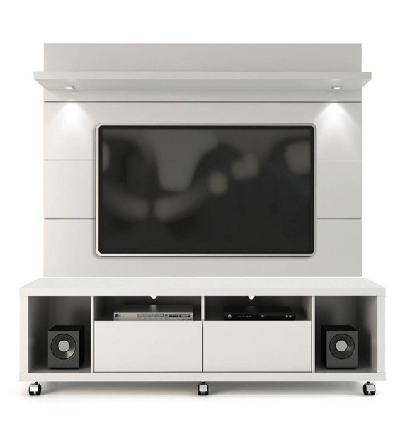 Manhattan Comfort Cabrini White TV Stand and Floating Wall TV Panel 1.8 MHC-2-1548482252
