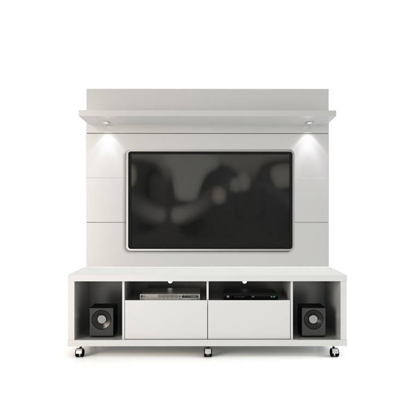 Manhattan Comfort Cabrini 1.8 White TV Stand and Floating Wall Panel MHC-2-1548482252